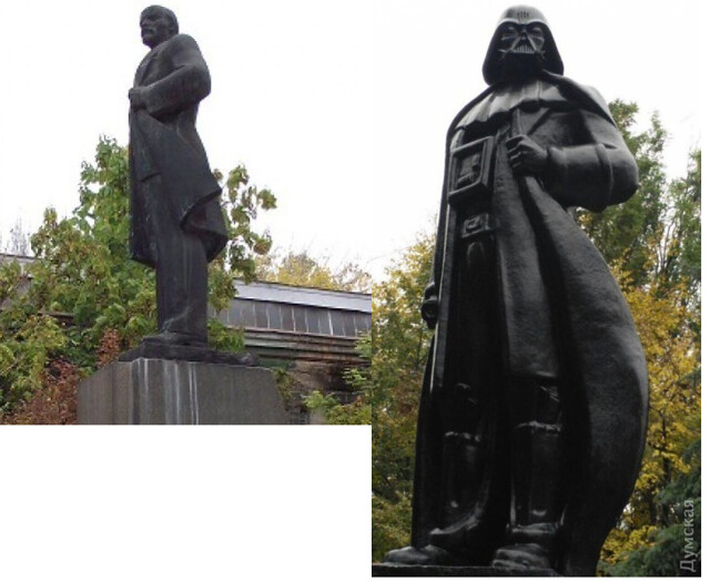 Statue of Lenin converted into Darth Vader in Odessa, Ukraine as a part of decommunization process which outlaws Communist symbols