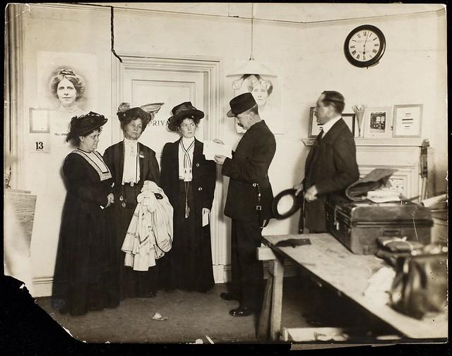 Flora Drummond, Emmeline and Christabel Pankhurst, 1908.