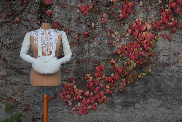 Manchon de mariée et sac à main, fausse fourrure