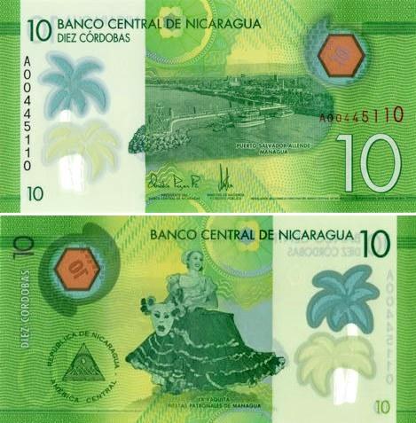 10 Córdobas Nikaragua 2015, polymer