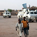 UNAMID Armoured Personnel Carriers pictured during a routine patrol at Abushouk camp for internally displaced persons (IDPs), in El Fasher, North Darfur