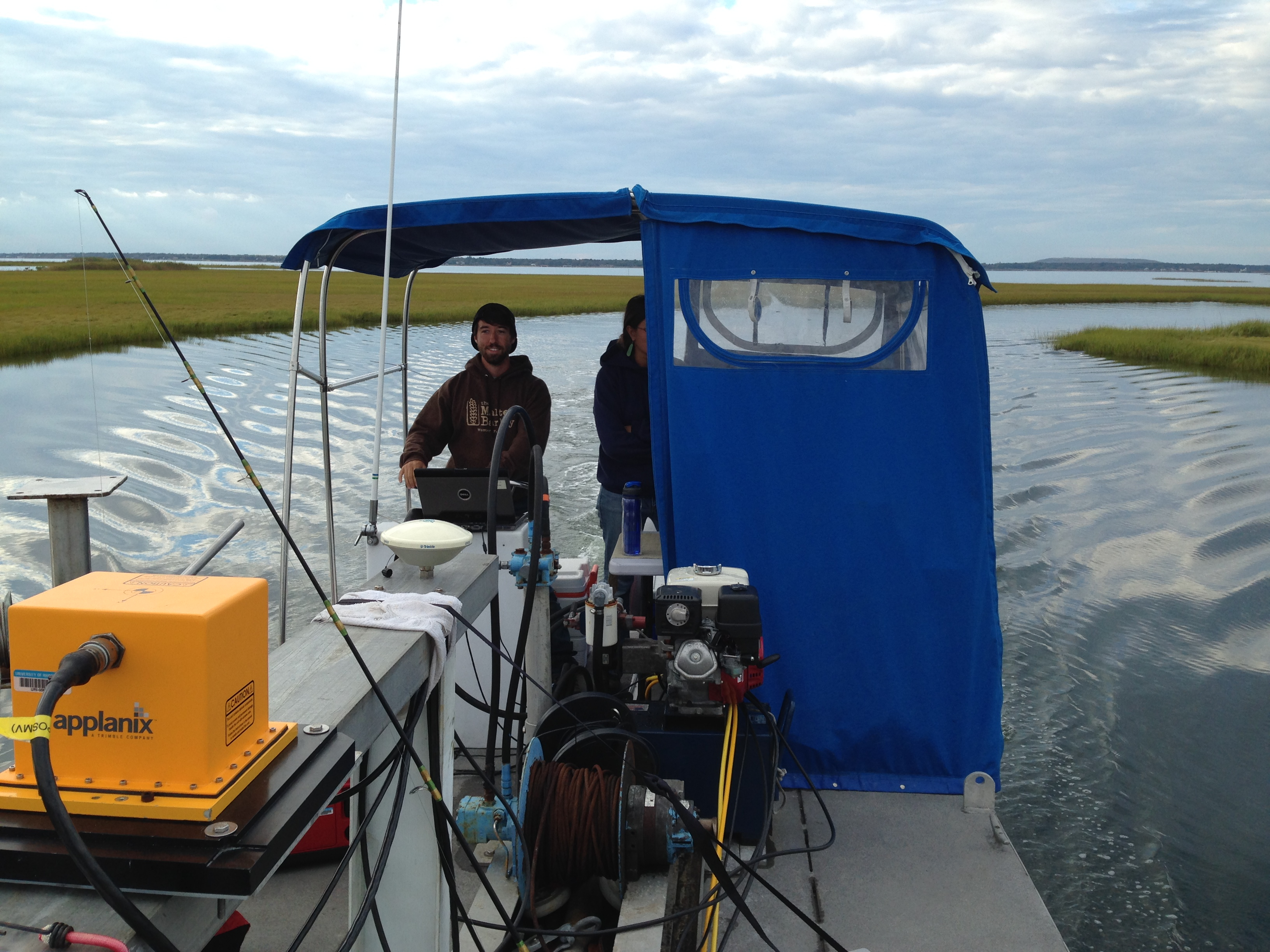 Dr. King's Fire Island team cruises aboard a stark 28-foot pontoon boat. An hour or so before dawn, they set up their gear. Then, for twelve hours straight, they drift through Long Island's Great South Bay at speeds of five knots or less to collect data.