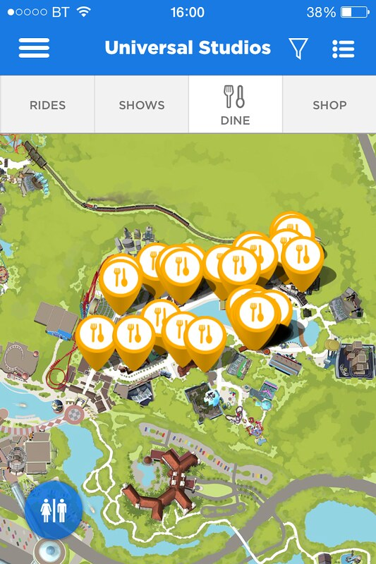 Universal Studios Orlando App Dining