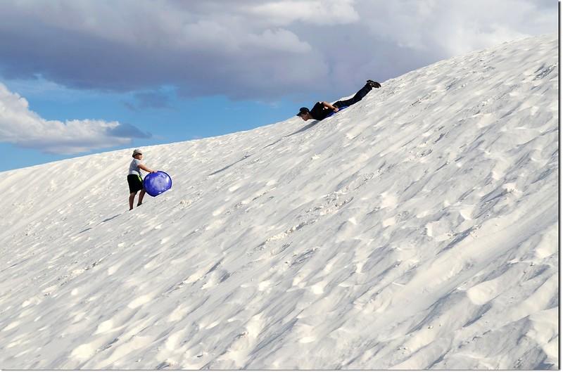 Sledding at White Sands National Monument  4