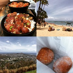 poke bowls from poke stop, kaimana beach, puu ualakaa lookout & champion malasadas #latergram #trafficwasnuts #hawaii