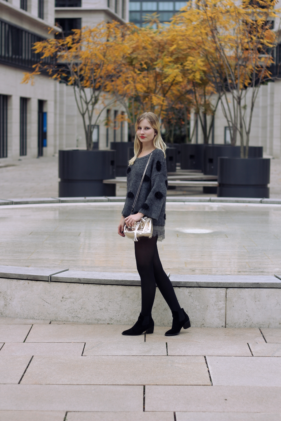 outfit blogger frankfurt autumn kitter dots cozy warm asos gold bag