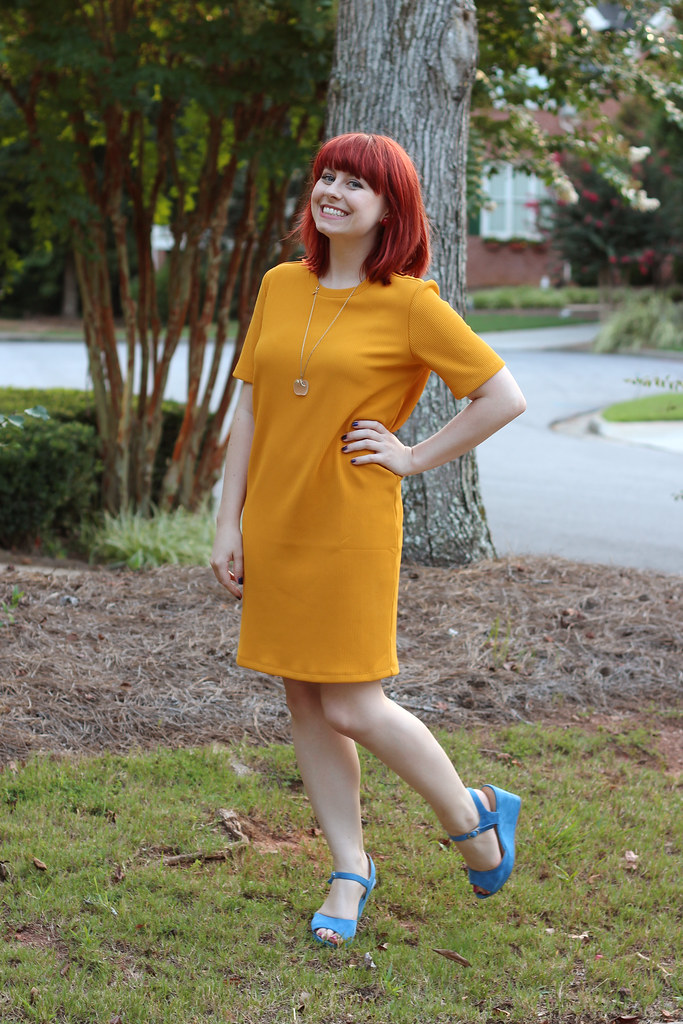 Mustard Yellow Forever 21 Shift Dress with Blue Wedges