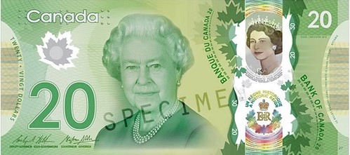 2015 Bank of Canada commemorative $20 note face