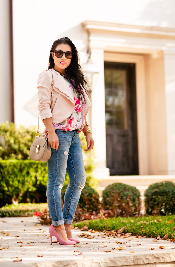 cute & little | petite fashion blog | pink moto jacket, floral swing tank, boyfriend distressed jeans, pink pumps, chloe drew | spring fall outfit