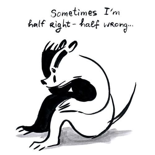 Sometimes I'm half right and half wrong... #badger #badgerlog