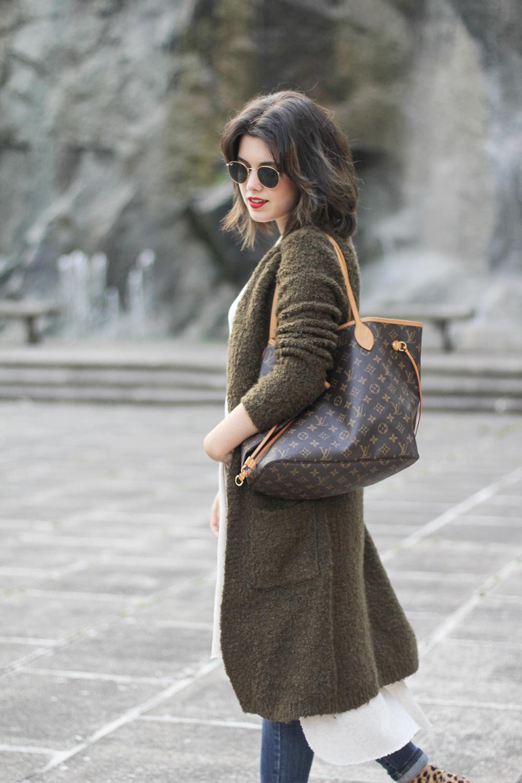 long cardigan green olive neverfull MM Louis Vuitton myblueberrynightsblog