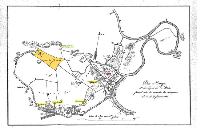 (P555) Plan de Saigon et des lignes de Ki-Hoa, faisant voir la marche des attaques des 24 et 25 février 1861