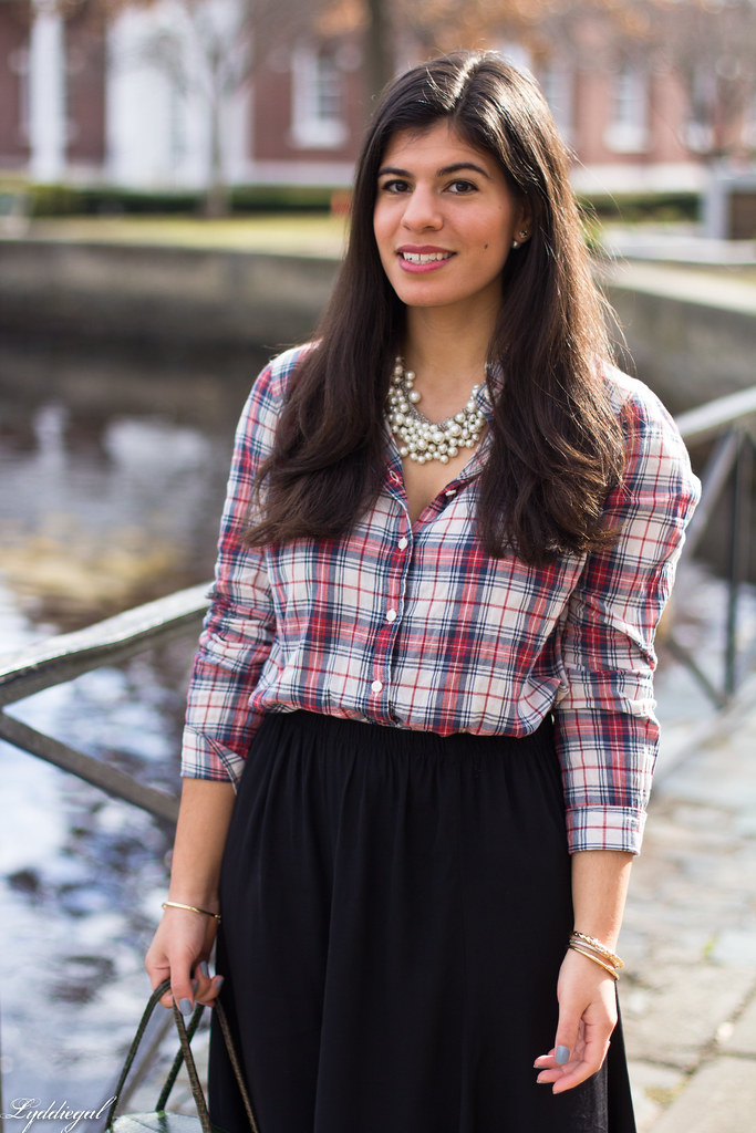 plaid shirt, pearl necklace black midi skirt, red pumps-7.jpg