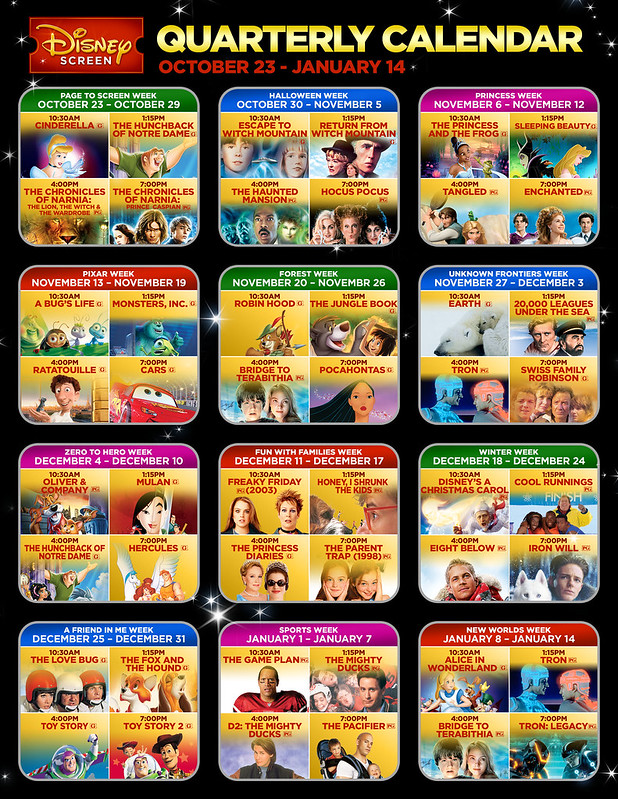 DISNEY SCREEN 12 WEEK CALENDAR