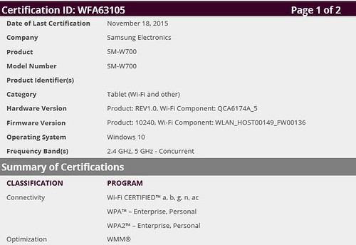 samsung 12 inch tablet certification