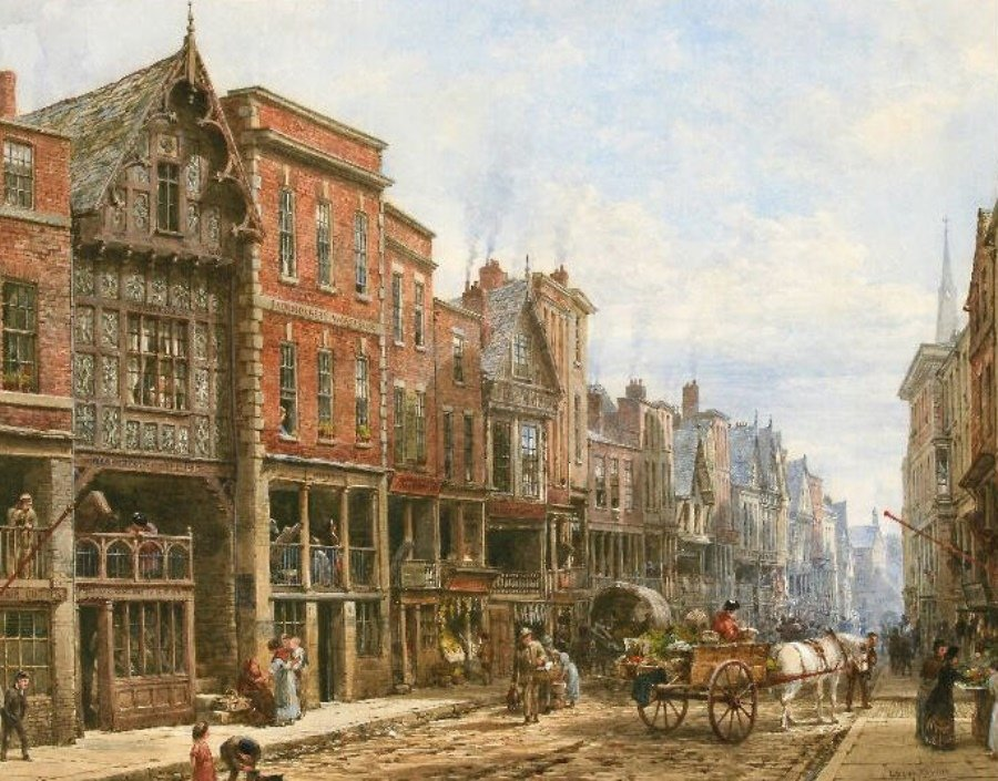 Watergate Street, Chester by Louise Rayner, c,1870-1880