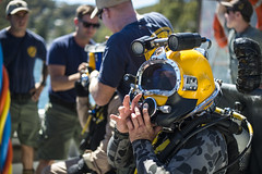 In this file photo, a Royal Australian Navy Diver prepares for underwater salvage operations with U.S. Navy counterparts during an exercise in November. (U.S. Navy/MC1 Arthurgwain L. Marquez)