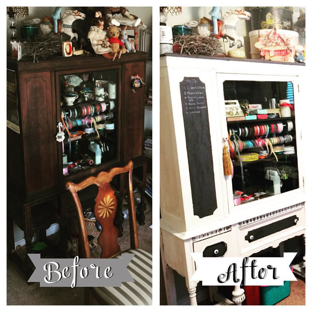 Well the studio is finished!! Here is the work done.  The hutch has been repainted with white chalk paint I believe I will paint the inside back panel to lighten it up a bit.  #studio #chalkpaint #makeover #furniture #art