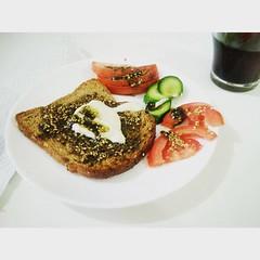 Israeli breakfast at work: toast with tehine and zatar