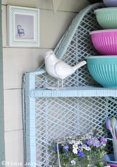Spray painted wicker shelves