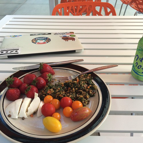 Strawberries, farro, mozzarella, and tomatoes. Oh, my. What a meal.