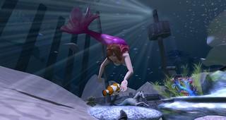 Mermaid and clown fish
