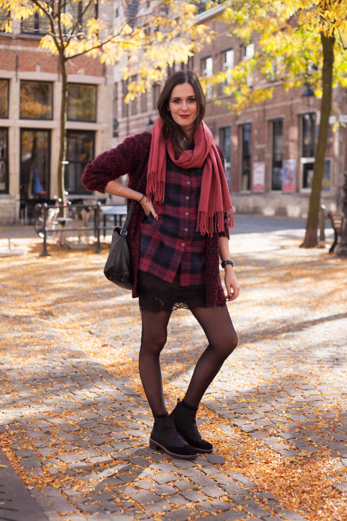 Outfit: burgundy plaid with lace slip skirt and chelsea boots