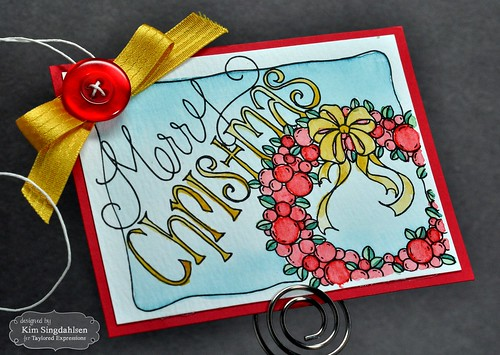 TE Watercolor Panels: Merry Christmas Tag