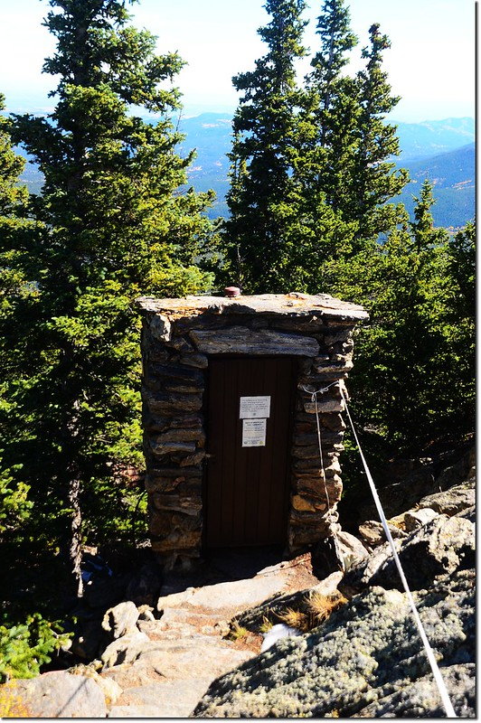 An old outhouse just below the summit tower