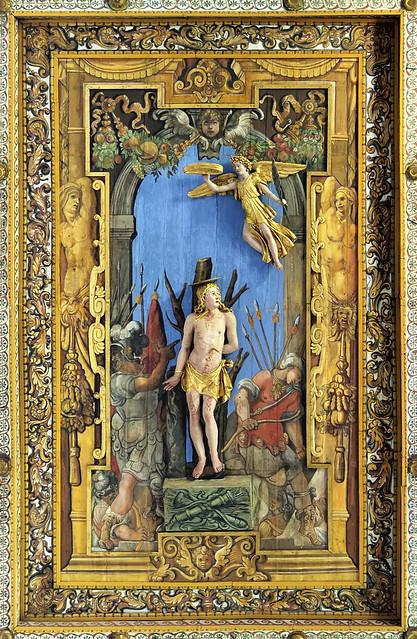 Saint Sebastian, Giovanni Vasanzio, 1612 - ornate wooden ceiling, San Sebastiano fuori le mura, Via Appia Antica, Roma