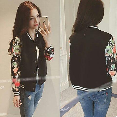 jual baju wanita korea black flower sleeved sporty casual jacket 26450bk hanya rp 114 000 lihat