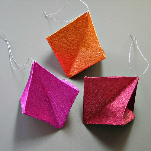 Metallic Crepe Paper Origami Ornaments