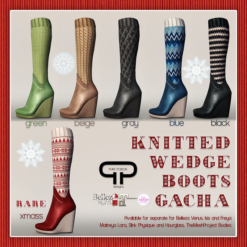 Pure Poison - Knitted Wedge Boots Gacha AD