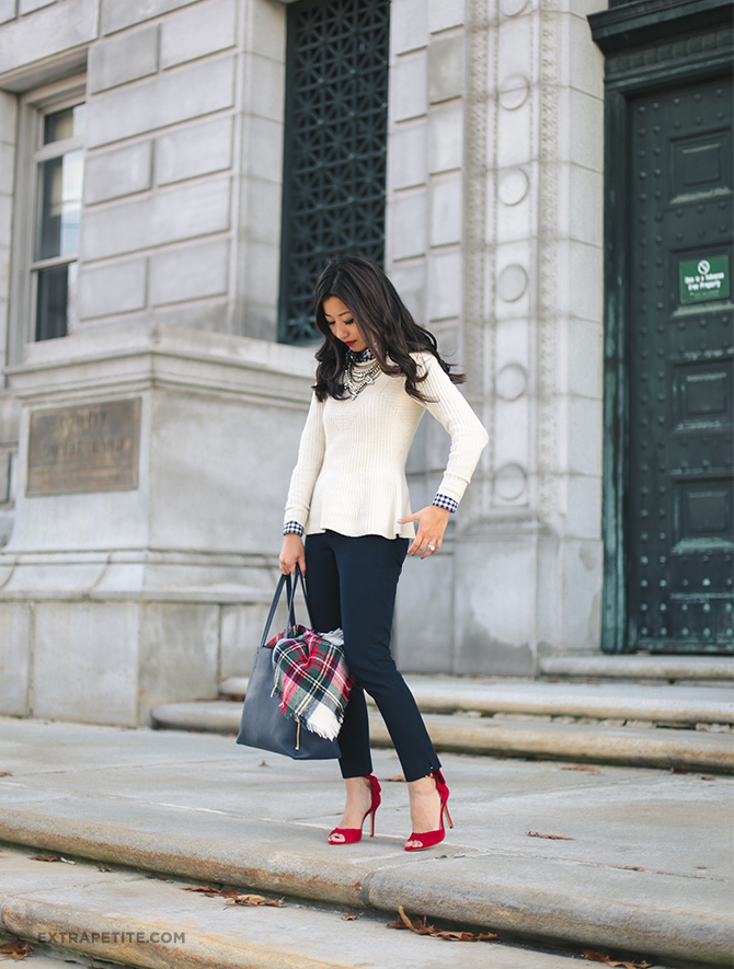 holiday office outfit - cream sweater tartan red shoes