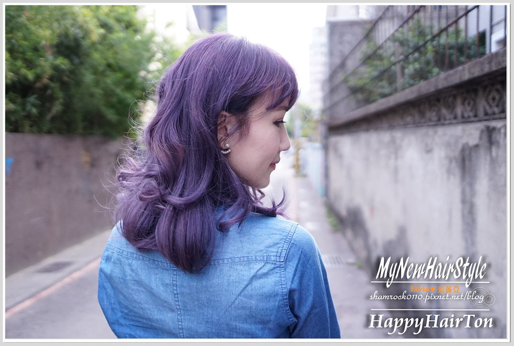 台中HappyHair精誠店Ton霧灰紫色漂髮-01