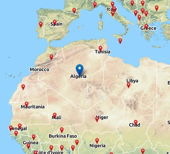 Alžírsko - mapa