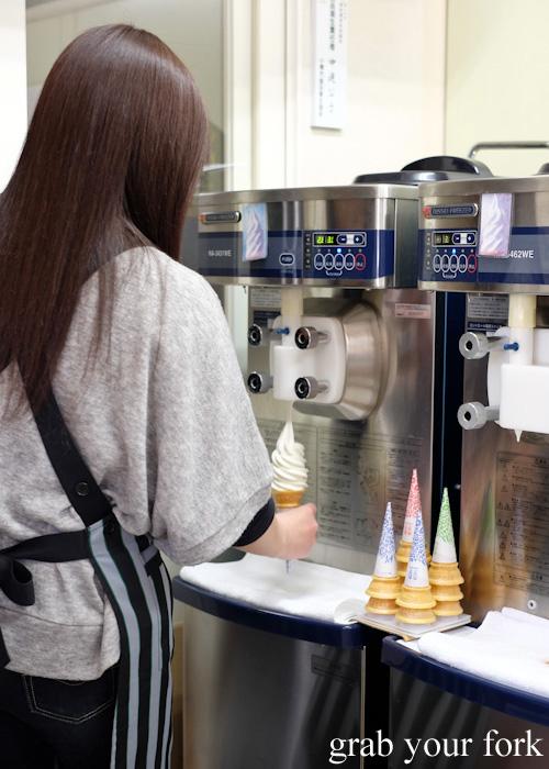 Making soft serves at Yamanaka Dairy Farm in Otaru, Hokkaido