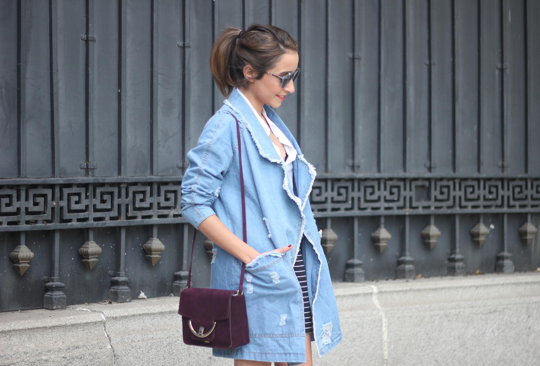 Denim Coat Stripes Skirt White Blouse Burgundy Uterqüe Bag Outfit13