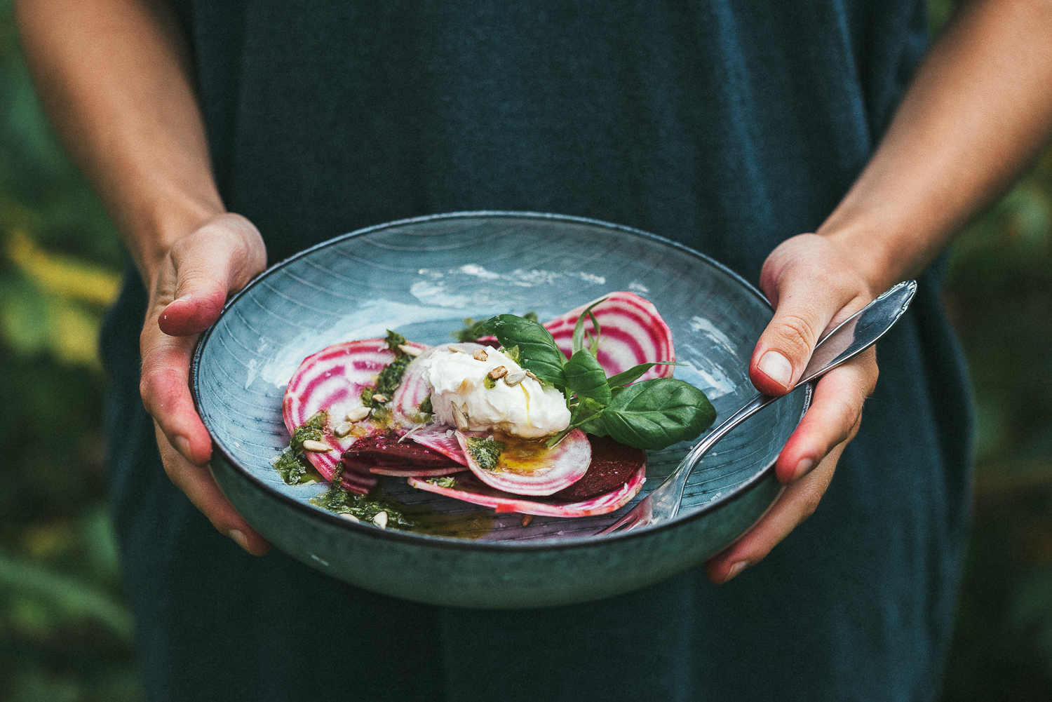 Polka Beet Carpaccio with Goat Cream Cheese & Tarragon Pesto | Cashew Kitchen (photo: Rania Rönntoft)