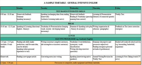 PICE example timetable