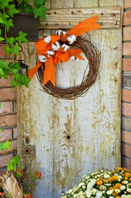 Fall Porch vintage door - Housepitality Designs