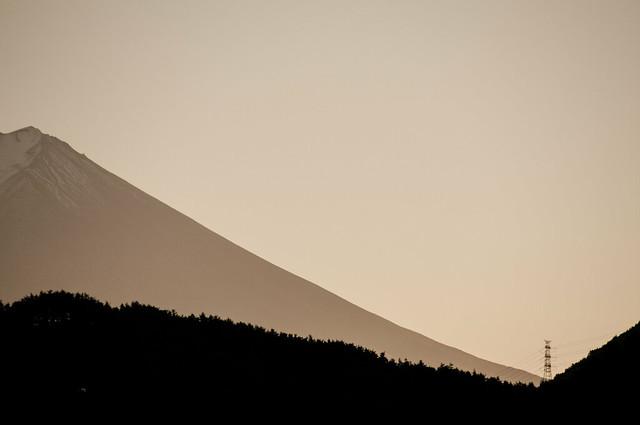 富士山 : 送電線鉄塔