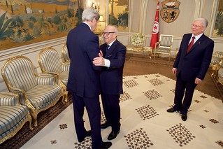 President Essebsi Shakes Hands with Secretary Kerry at the Presidential Palace in Tunis