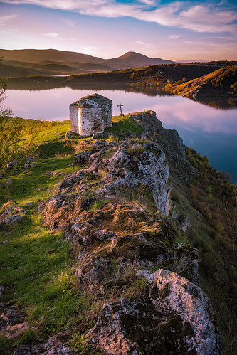sunset sky panorama lake mountains water beautiful clouds landscape hill chapel bulgaria lobosh pchelina