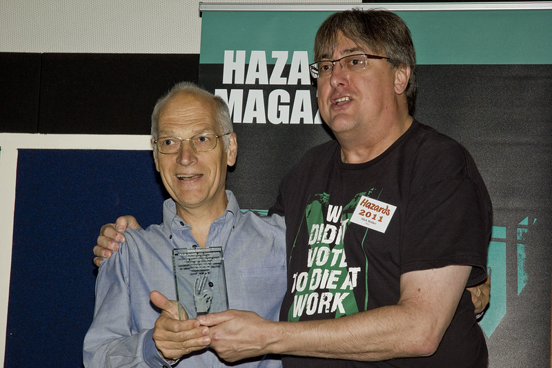 Simon Pickvance accepts the 'Alan troublemaker' award at Hazards conference 2011
