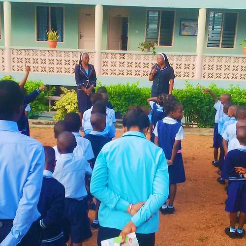 Maria Ehikioya SSL, the Provincial Treasurer of SSL Nigeria, visiting the school children of Louisville Nursery and Primary School, Ibadan