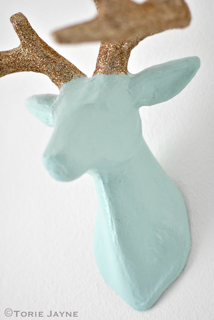 DIY Glittered antler stag head tutorial 6