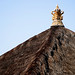 Bali 2015, Pura Puseh Temple Batuan, crowned and thatched temple roofline WM