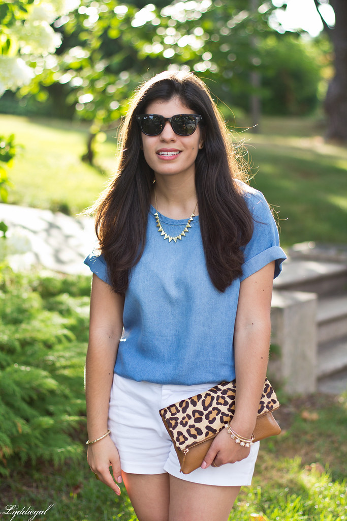 chambray tee shirt, white shorts, leopard clutch-4.jpg