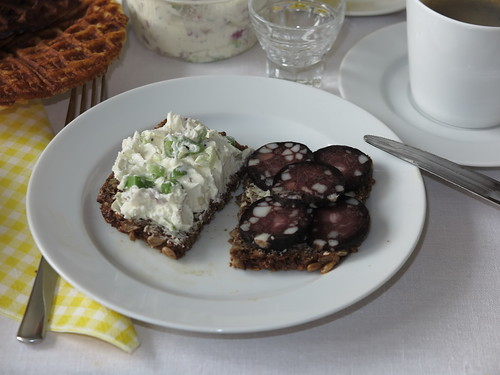 Lauchzwiebel-Frischkäse und Rotwurst auf Vollkornbrot